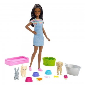 Black Friday Sale Barbie Play 'n' Wash Pets Nikki Doll and Playset